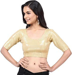 24998ee999cc07 Vamas-The Designer Blouses Women's Lycra Shimmer Non-Padded Stretchable  Elbow Sleeves Saree Blouse