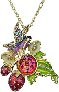 Kirks Folly Strawberry Fairy Seaview Water Moon Pin Pendant Necklace Goldtone