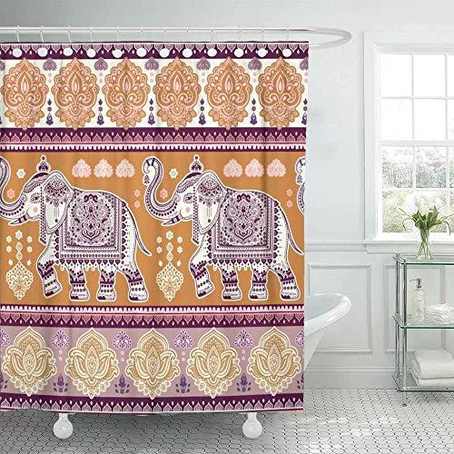 GSYL Tenda da Doccia in Tessuto con Ganci India Vintage Graphic Lotus Indiano Etnico Elefante Tribale Africano Libri da colorare Viaggio