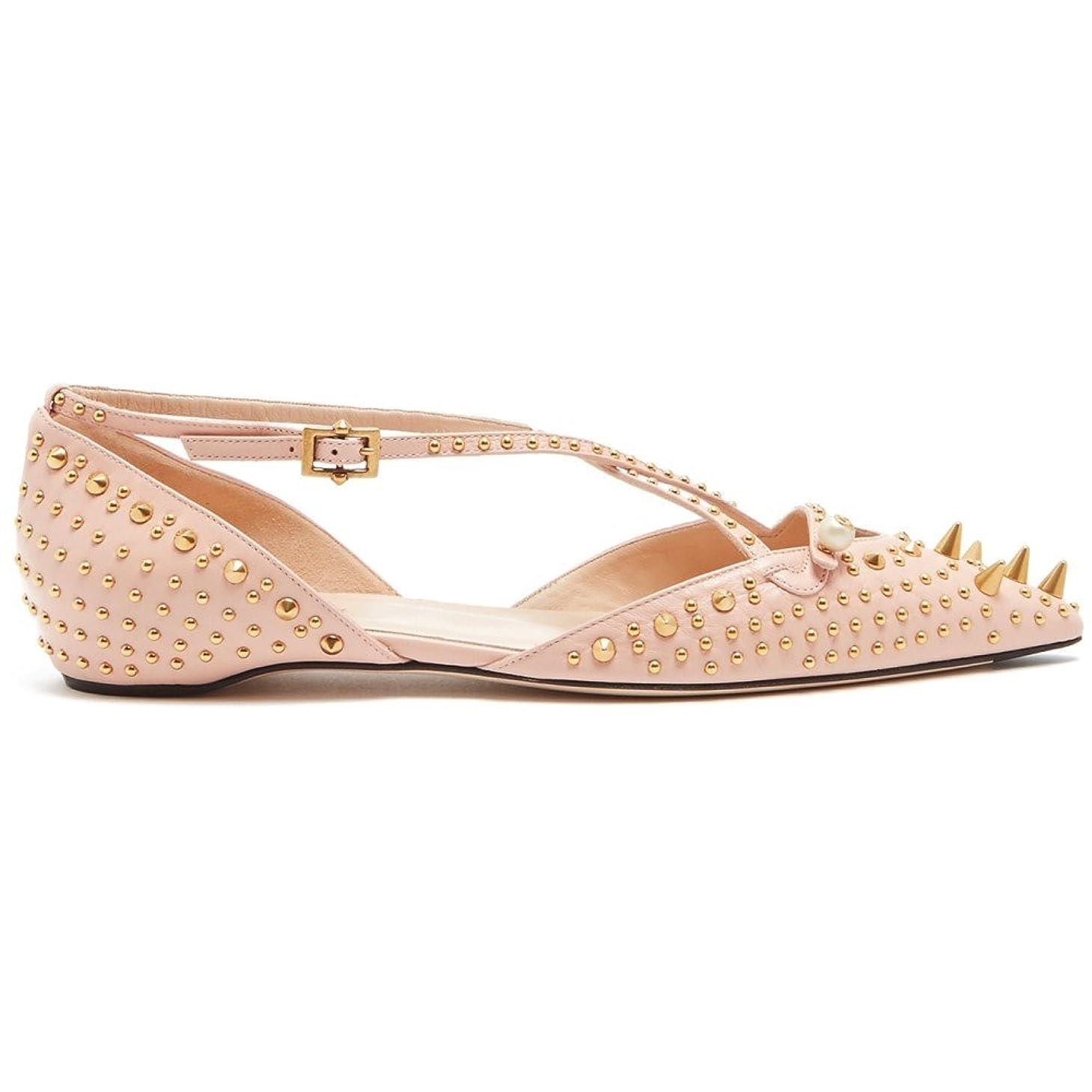 哲学主張ハンカチ(グッチ) Gucci レディース シューズ?靴 スリッポン?フラット Unia studded leather flats [並行輸入品]