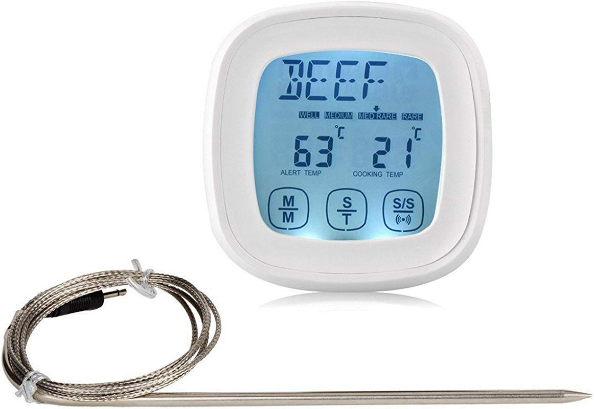Androra Touchscreen Oven Meat Thermometer Timer Accurate Digital Best Grill Cooking Thermometers With Probe Best Cooking Thermometer For Kitchen Oven Grilling Candy Food And Smoker