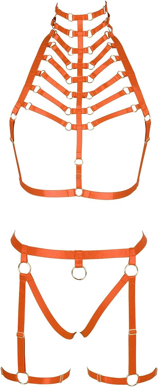 Lingerie cage Full body harness for women Gothic Punk Bra Garter belt set Halloween Chest strap Festival Rave Plus size