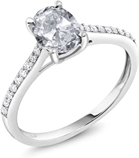 Gem Stone King 10K White Gold Pave Diamond Engagement Solitaire Ring set with 8x6mm Oval White Topaz 1.40 ct (Available 5,6,7,8,9)