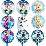 Babioms 9Pcs Globos Cumpleaños Decoracion de Princesa, Elsa Globos de Cumpleaños, para Niños Fiesta Baby Shower, Globo de Papel de Aluminio Congelado