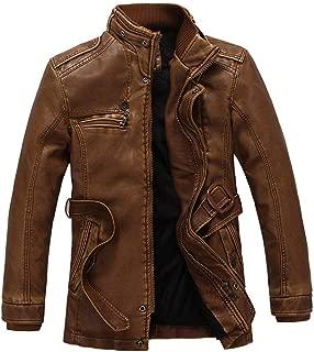 Men's PU Jacket Biker Jacket Pilot Coat Warm Imitation Leather Coat Winter Thermal Coat Thick Warm Jacket