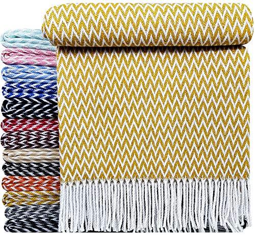 STTS International Baumwolldecke sehr weiches Plaid Wohndecke Kuscheldecke in versch. Farben Baumwolle Marbella 140 x 200 cm Gelb