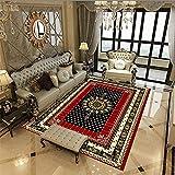 Kunsen Alfombra Exterior terraza Alfombra pequeña Dormitorio Estilo étnico Alfombra Retro Rojo Negro decoración Rectangular Sala de Estar alfombras para terrazas 40X60CM 1ft 3.7' X1ft 11.6'