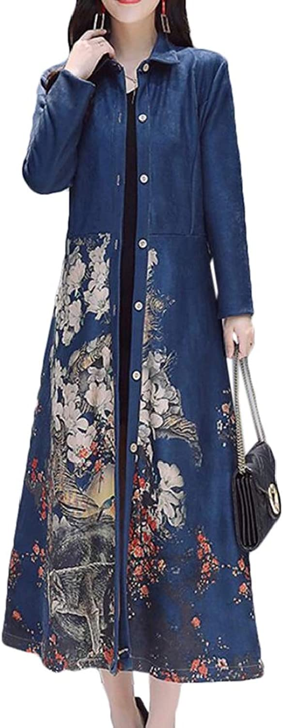 Domple Women Single Breasted Stylish Floral Print Belted Long Trench Coat Dark bluee L