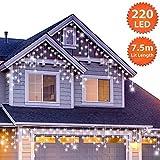 Guirlande Lumineuse Stalactite 220 LED Blanc Brillant lumières de Noël extérieure et intérieure avec 8 fonctions de mode Alimentation Secteur avec Longueur éclairée 7,5m Câble Blanc