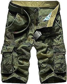 5cf343ea760f5 Cicilin Homme Militaire Cargo Shorts Vintage Bermudas Pantacourt Camo 100%  Coton Multi Poches sans Ceinture