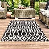 carpet city Outdoor-Teppich Wetterfest Balkon Terrasse Modern Geometrisches Muster in Anthrazit; Größe: 160x230 cm