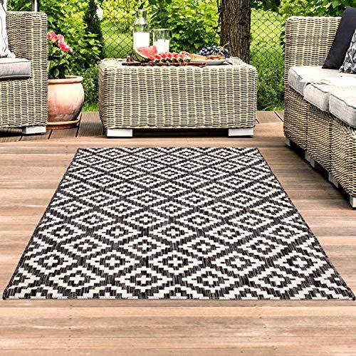 carpet city Teppich In- und Outdoor Wetterfest UV-beständig Raute-Muster Modern Schwarz für Terrasse Balkon; Größe: 120x170 cm