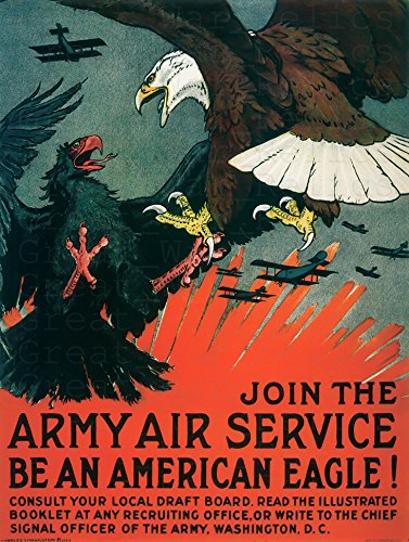 UpCrafts Studio Design WW1AmericanPropaganda Poster, Size 11.7x16.5 inches - Join The Army AIR Service - WW1 Aviation Aviator Aircraft Airplane