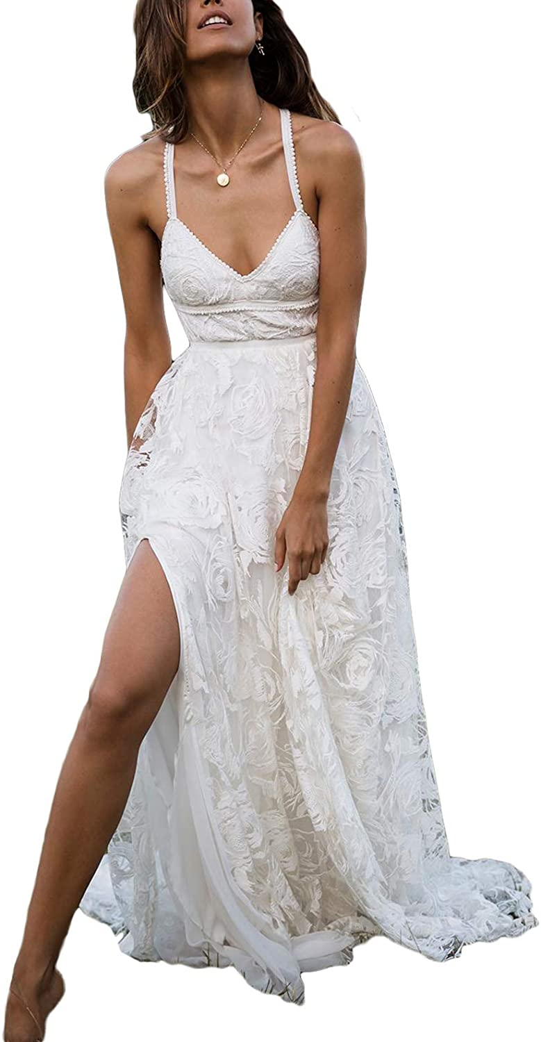 Yakey Sexy Beach Wedding Dresses for Bride 2019 VNeck Lace Bridal Gowns Backless