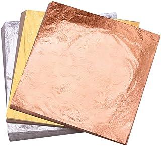رقائق اوراق الذهب من يونغبو، ورقة بلون ذهبي وردي فضية مقلدة، للفنون والطلاء والديكور واطارات الصور والاثاث 5.5 × 5.5 انش