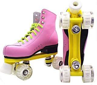 Juvenile shoulder Pu Leather Roller Skates Double Line Patines Women Lady Models Adult Pink with Racing 4 Pu Wheels Two Line Roller Skating Shoes