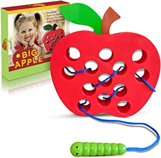 Playahoy Apple Lacing Threading Toy Fun Learning Game for Kids l Builds Basic Life Skills l