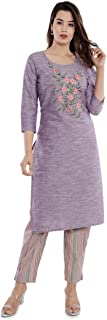 Sanganeri Kurti Womens Cotton Embroidred Kurta With Printed Pant Set (Purple)