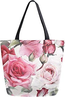 ZZKKO Einkaufstasche aus Segeltuch mit rosafarbenen Rosen, für Damen, Lehrer, Retro, Baumwolle, Einkaufstasche, Handtasche, wiederverwendbar, Mehrzwecknutzung