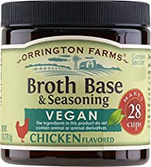 6 ounces per jar Each jar makes 6 cups Vegan chicken flavored Contains sea salt and is Gluten Free. No MSG added