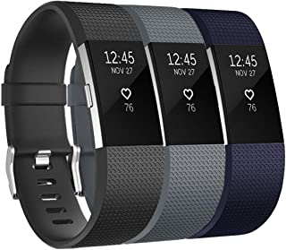 Keasy Bands Compatible with Fitbit Charge 2, Soft Adjustable Replacement Wristbands Strap for Charge 2, 3 Colors in 1 Pack