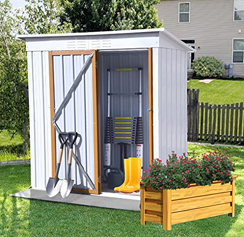 5FTx3FT Outdoor Metal Storage Shed, Tool shed with Sloping roof and Lockable Door & Vents, A Garden shed That can Prevent The Sun and rain, and a Bike shed That can Store Garden Tools and Bicycles