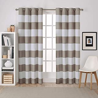 Exclusive Home Curtains Surfside Cabana Stripe Cotton Grommet Top Curtain Panel Pair, 54x84, Taupe, 2 Count