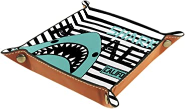 Shallow Storage Bin Box Desktop Organizer Containers Baskets Cube with Shark On Striped