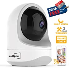 WallQmer WiFi Security Camera IntelliEyePro with Free 32G MicroSD Card, 1080P, Night Vision, Motion Alerts, 2 Way Audio, Cloud/SD Card Storage for Pets/Kids/Safety