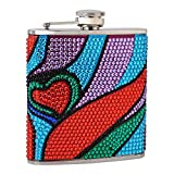 Top Shelf Flasks Premium 6 oz. Rhinestone Hip Flask With Heart Pattern