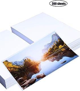 Yeelan 200 hojas de papel fotográfico brillante tarjeta de foto premium de papel 4 x 6 200gsm para todas las impresoras impresora de inyección de tinta etc