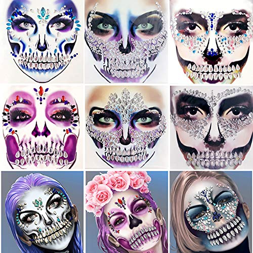 Leoars Skull Face Gems Jewels, Halloween Temporary Face Tattoos, Rhinestone Face Jewels Tattoo Stickers, Crystals Body Gems Stick on Face for Festival Rave Party Outfit
