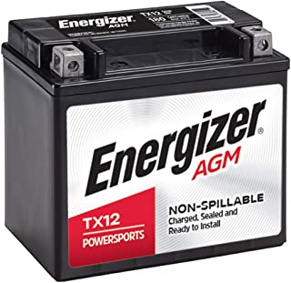 Energizer TX12 Black AGM Motorcycle and ATV 12V Battery, 180 Cold Cranking Amps and 10 Ahr. Replaces: YTX12-BS and others