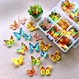Horypt 100 Pcs Flowers Cupcake Toppers, Butterfly Flower Shape Cake Baking Decoration Glutinous Edible Rice Paper Wafer Paper Cake Dessert Toppers Birthday Party Wedding