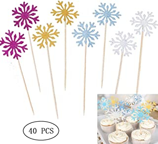 40Pcs Glitter Snowflake Cake Cupcake Toppers for Christmas Birthday Party Baby Shower Wedding Cake Decoration(4 Colors)