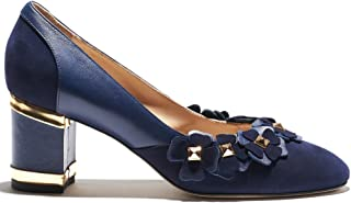 Indiano Pelletteria Blossom- Round Toe Pump in Navy Blue