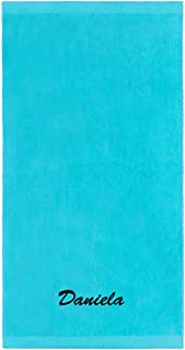 Kaufman - Personalized Velour Beach and Pool Towel 100% Cotton 30in X 60in Embroidered (Turquoise)