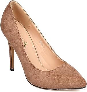 Women Faux Suede Pointy Toe Single Sole Stiletto Pump FE14
