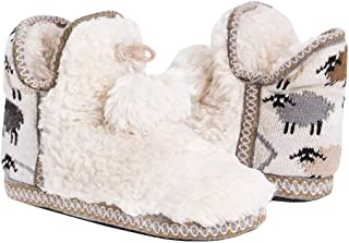 Liyuandian Women's Winter Warm Indoor Slippers Boots House Cotton Cable Knit Fleece Lined Ankle High Floor Snow Socks