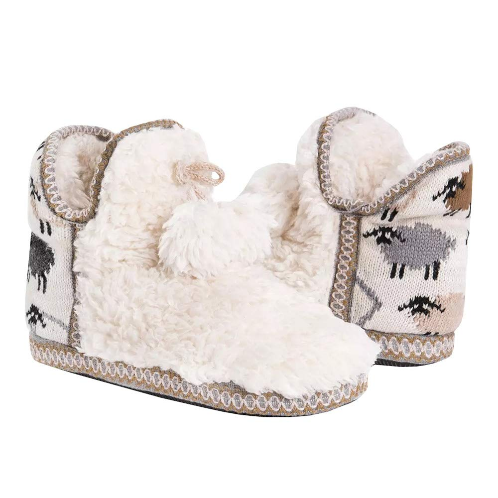 Image of Cute Fur Lined Fuzzy Bootie Slippers for Women