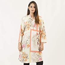 Off White Orange Casual & Party Wear Cotton Printed Stitched Kurta Kurti Shirts Tops For Women/Girls - Ladies Collection