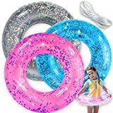 Pool Floats Kids 3 Pack Pool Floats Toys for Kids Summer Fun Inflatable Glitter Swim Tubes Rings Outdoor Pool Beach Water Floats Party Supplies Kids Floaties