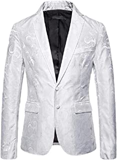Men Casual Floral Printed Two Button Sport Coats Blazer Jackets