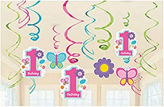 amscan Foil Swirl Decorations | 1st Birthday Girl |Flowers and Butterflies Collection