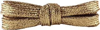 2 Pair Shiny Gold Shoelaces Metallic Glitter Flat Shoelaces Bootlaces Shimmering Shoelaces for Canvas Sneaker Athletic 43inch