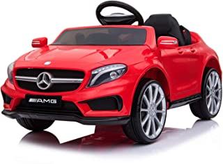Licensed AMG GLA 45 Electric Ride On Car for Kids 12V Remote Control, Battery Powered, LED Lights, Music (Red)