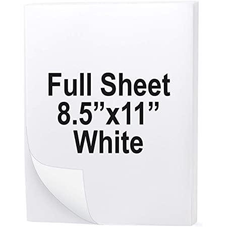 Traditional Sheeted Labels: 8-1//2 x 11 /Standard White /• 50 lb Paper /• Perm Adhesive for a Total of 100/Labels. 1/Label per Sheet 100 Sheets