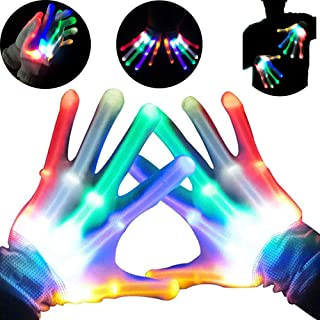 Autbye Light Up LED Skeleton Hand Gloves Halloween Toy (2019 Enhanced Edition) Novelty for Kids Masquerade Cosplay Festival Party Prop Scary Costume (Colorful Light)
