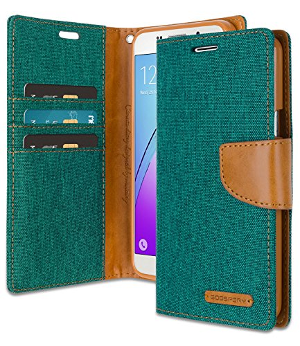 Galaxy A5 2016 Wallet Case with Free 4 Gifts [Shockproof] GOOSPERY Canvas Diary [Ver. Magnetic] Card Holder with Kickstand Flip Cover for Samsung GalaxyA52016 - Green, A52016-CAN/GF-GRN