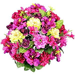 Admired By Nature Artificial Hibiscus with Rosebud, Freesias & Fillers Flower Mixed Bush for Home, Office, Restaurant & Wedding Arrangement, Lilac Mix, 36 Stems